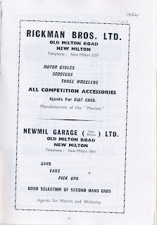 Newmil Garage (New Milton) Ltd 1964 advert