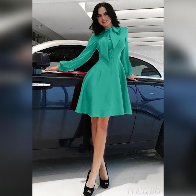Μακρυμάνικο  μίντι τυρκουάζ φόρεμα SIONA TURQUA