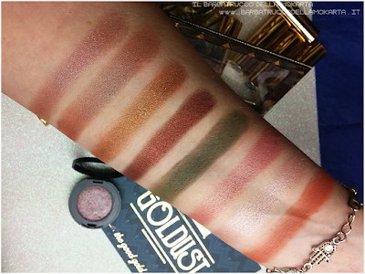 ombretti eyeshadow swatches  goldust collection Nabla cosmetics