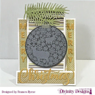 Stamp/Die Duos: Deer Ornament, Custom Dies:  Center Step A2 Card with Layers, Merry Christmas, Pinecones & Pine Branches, Paper Collections: Winter