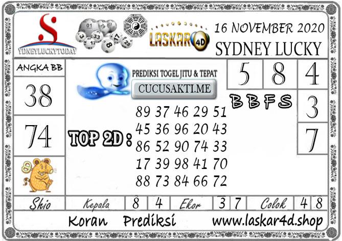 Prediksi Sydney Lucky Today LASKAR4D 16 NOVEMBER 2020