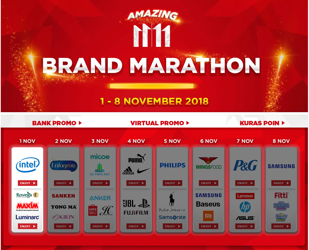JDID - Promo Amazong 11|11 Brand Marahon 2018 (s.d 8 Nov 2018)