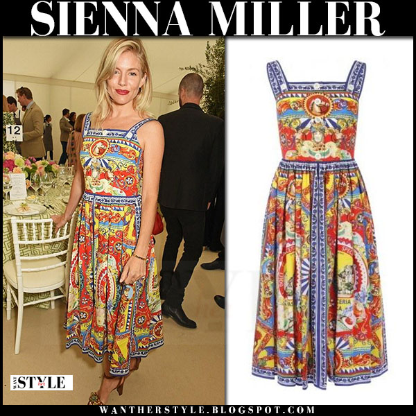 Sienna Miller in multicoloured print dress dolce and gabbana what she wore