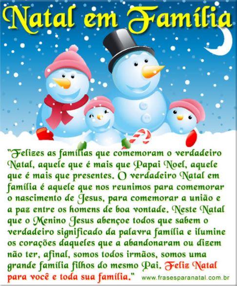 Mensagem de Natal para Família Natal em Familia