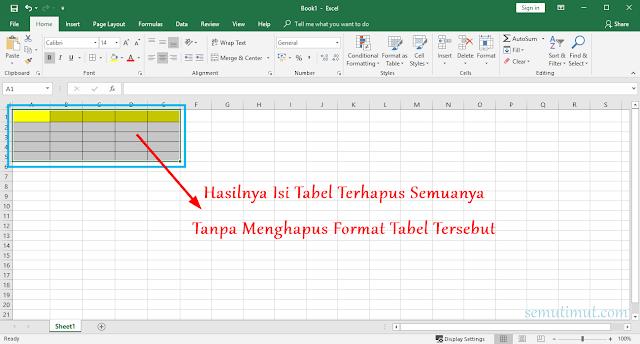 Cara Menghilangkan Tabel di Excel
