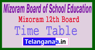 Mizoram HSSLC Time Table 2018