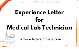 experience letter for medical lab technician