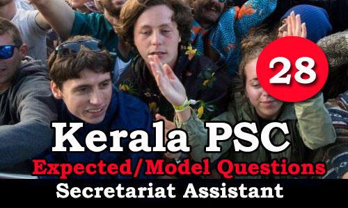 Kerala PSC Secretariat Assistant Model Questions - 28