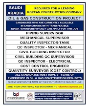 SAUDI JOBS : REQUIRED FOR A LEADING OIL AND GAS COMPANY IN SAUDI .g