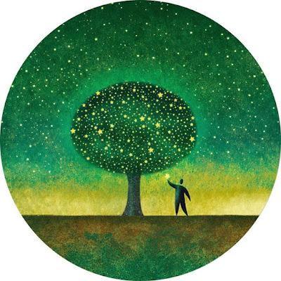 افتار رسومات لشخص يحمل ورقة ساقطة من الشجرة