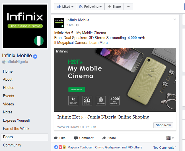 Infinix-official-Facebook-page