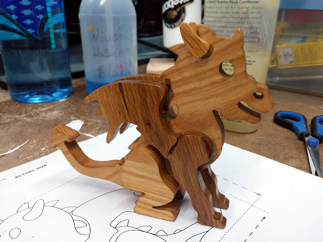 Handmade Wooden Toy Baby Dragon Completed