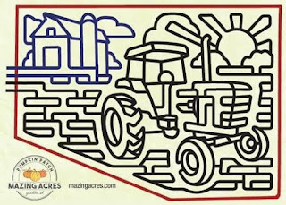 a corn maze map from Mazing Acres looks like a barn and a tractor