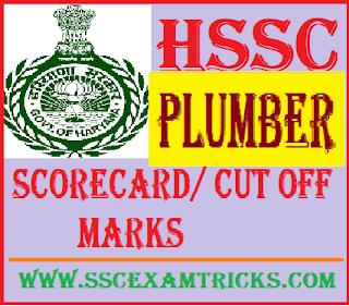HSSC Plumber Scorecard/ Cut off Marks