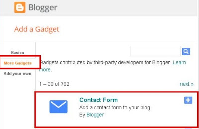 Adding Contact Form In Blogger