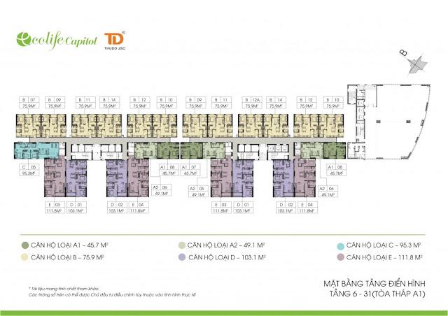 Mặt bằng điển hình tầng 6 - 31 Ecolife Capitol