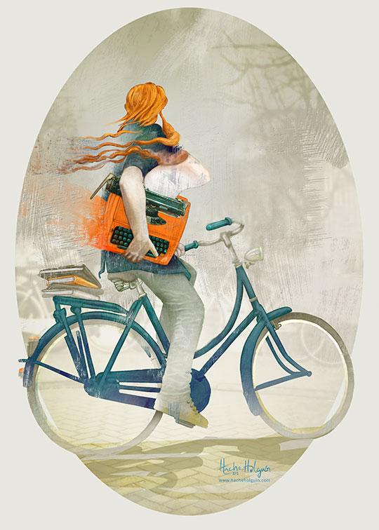 Poster, Orange typewriter