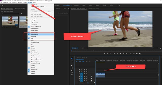 importare video in adobe premiere