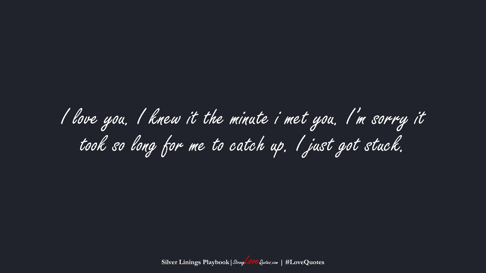I love you. I knew it the minute i met you. I'm sorry it took so long for me to catch up. I just got stuck. (Silver Linings Playbook);  #LoveQuotes