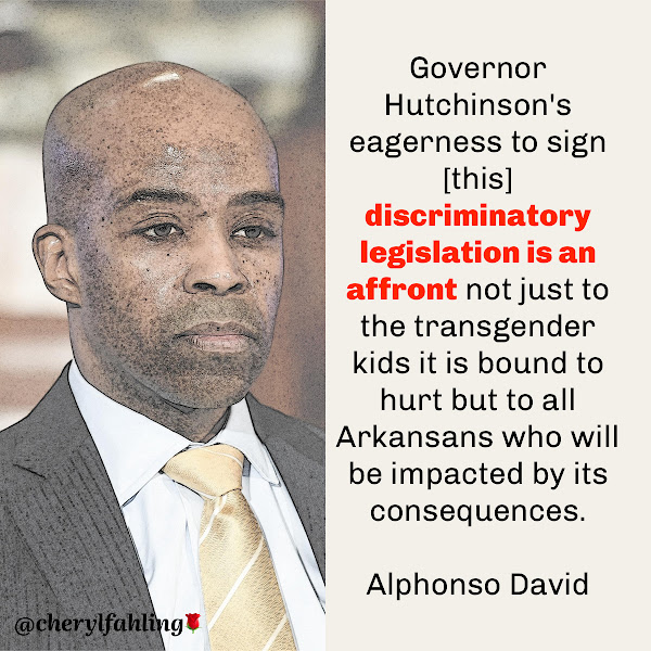 Governor Hutchinson's eagerness to sign [this] discriminatory legislation is an affront not just to the transgender kids it is bound to hurt but to all Arkansans who will be impacted by its consequences. — Alphonso David, president of the LGBTQ+ advocacy group Human Rights Campaign