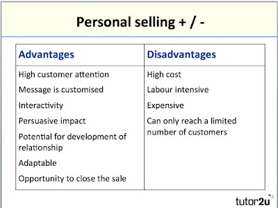 Advantages and disadvantages of personal selling as a promotional method