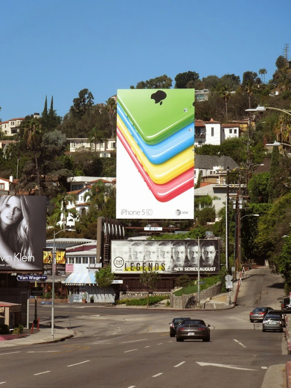 Giant iPhone 5c billboard Sunset Strip