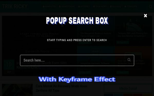 Membuat Popup Search Box With Keyframe Effect