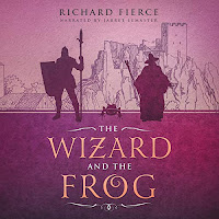 The Wizard and The Frog audiobook cover. The silhouette of a warrior, a wizard, and a frog, on a background that depicts a castle. The foreground is dark pink and the title text is in a golden, fairytale font.
