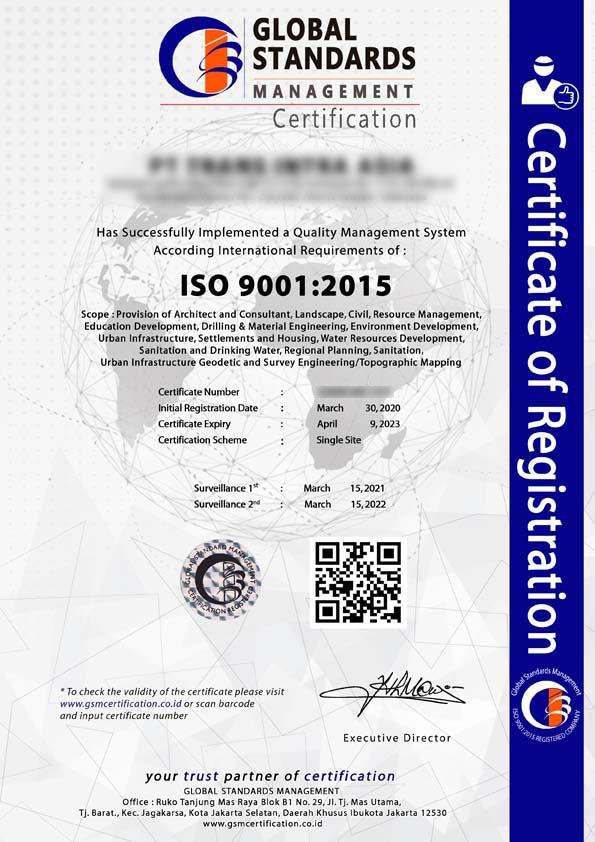 Contoh sertifikat ISO 9001:2015
