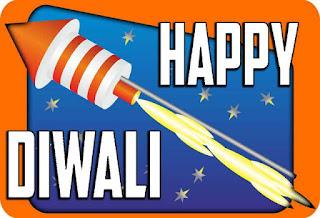 Diwali Image with rocket and fierworks of diwali