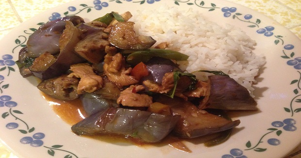 Stir-Fried Chicken And Eggplant In Basil And Chile Sauce Recipe