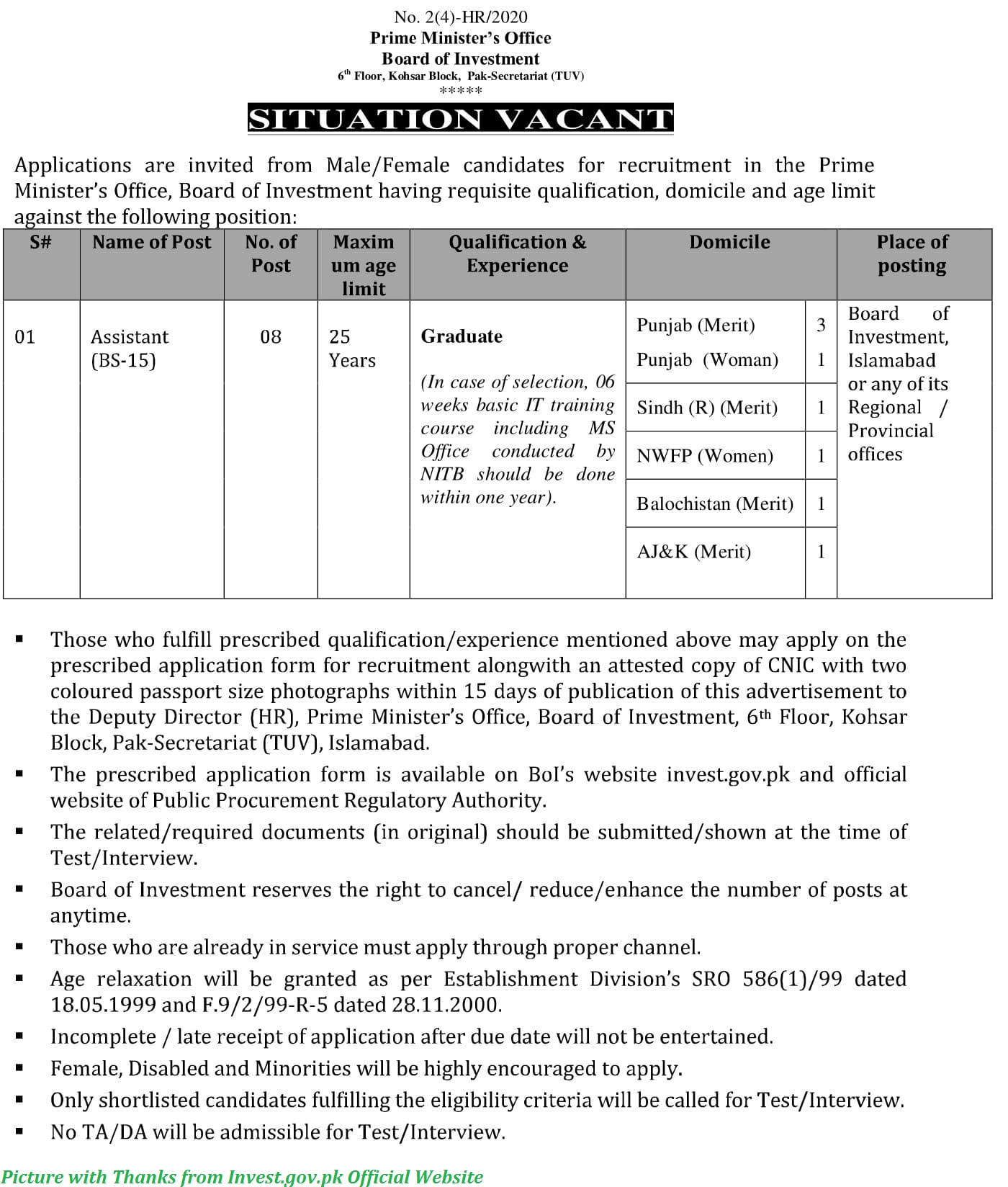 Prime Minister Office Board of Investment Jobs 2020 - Latest Assistant Jobs in Prime Ministers Office