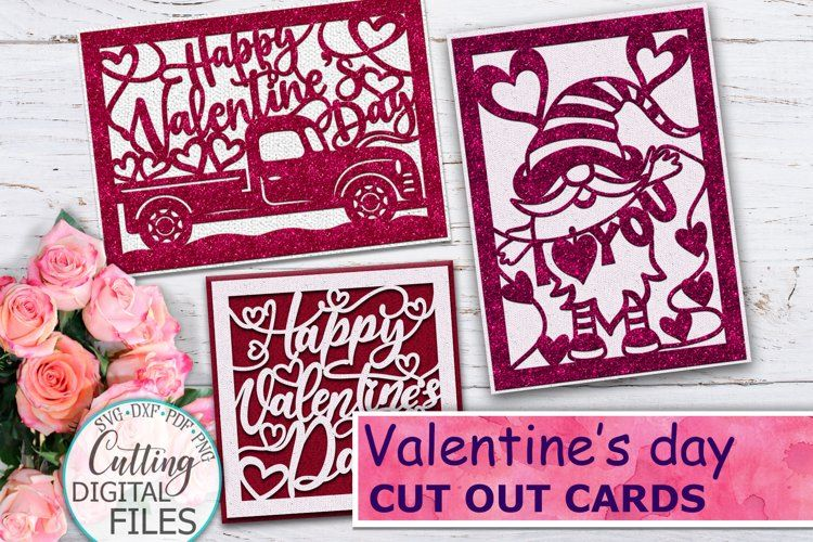 Valentine's Cut out cards template
