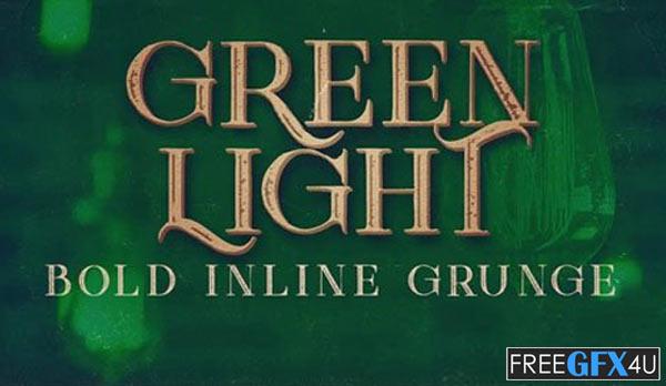 Green Light Bold Inline Grunge Serif Font
