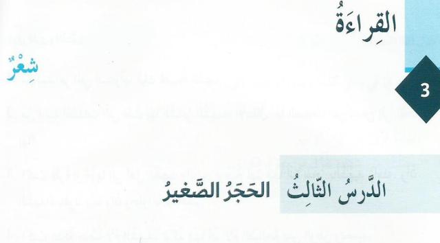 حل درس الحجر الصغير لغة عربية فصل أول صف ثامن