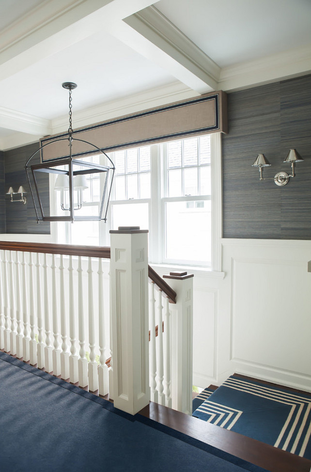 Beautiful Sophisticated uses of a nautical theme is found throughout the home in well chosen uses of fabrics flooring and rugs window treatments and accessories