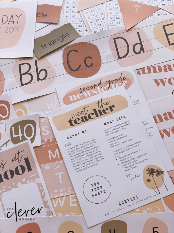 BOHO SUMMER Meet The Teacher Letters - Simple, stylish boho inspired classroom decor with a retro 70's summer feel is just what you need this back to school to create an inviting classroom   you clever monkey