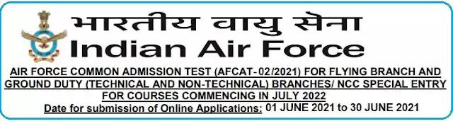 Indian Air Force AFCAT 02/2021 Officer Recruitment