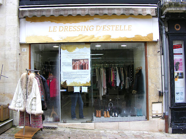 Second-hand clothing shop, Loches, Indre et Loire, France. Photo by Loire Valley Time Travel.