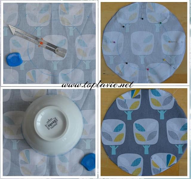 تعلم خياطة غطاء طعام  من القماش - DIY fabric bowl covers