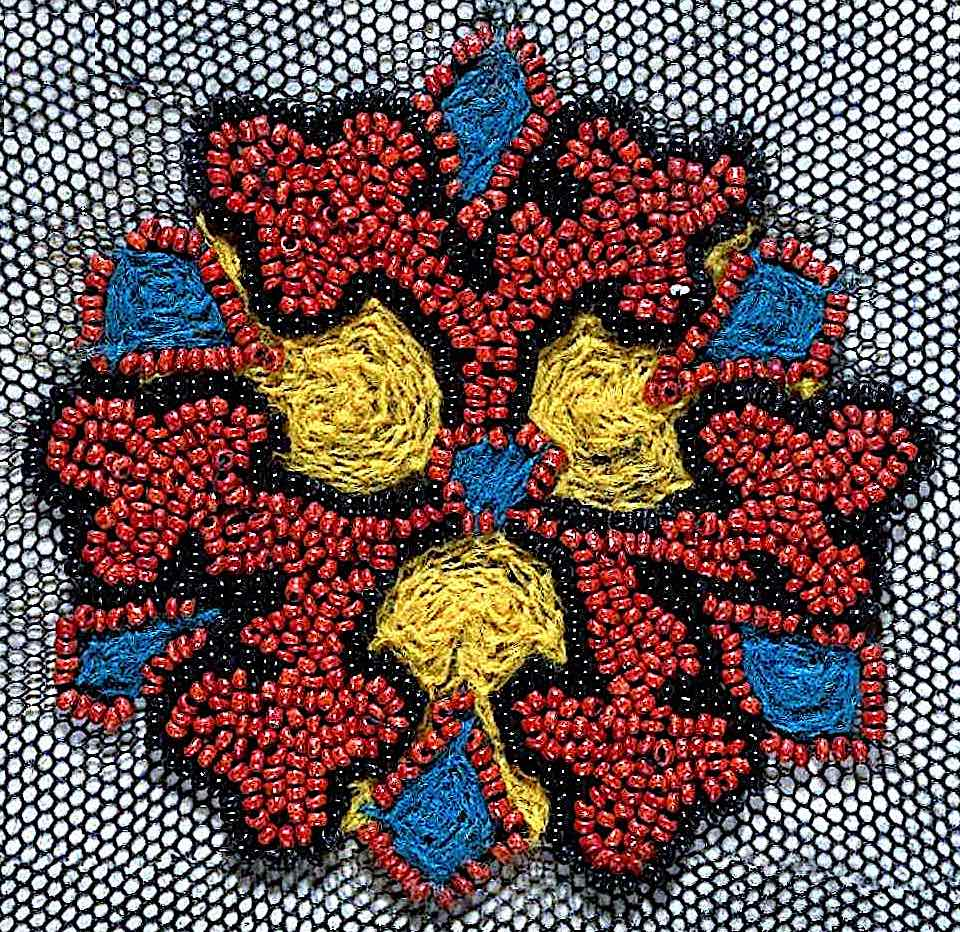 a women's dress trim 1890 in red yellow blue beads