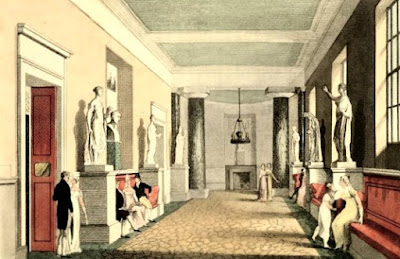The saloon leading to the private boxes, Covent Garden Theatre,  from Ackermann's Repository (1810)