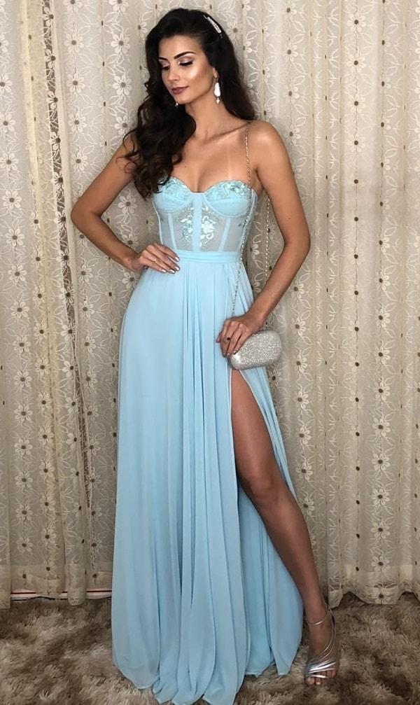 vestido azul claro para madrinha de casamento