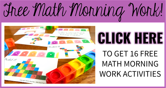 """Photo of math morning work task cards with text, """"Free Math Morning Work. Click Here."""""""