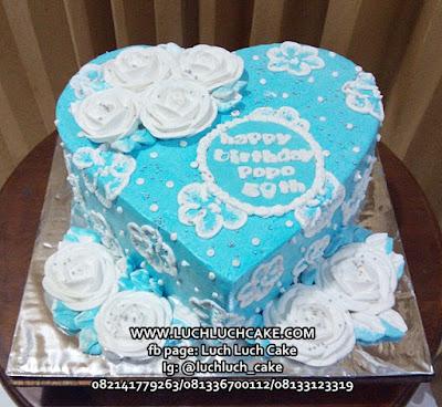 Kue Tart Love Buttercream Bunga Romantis Cantik Murah