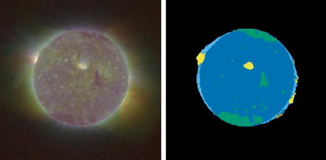 The SUVI thematic map (right) produced by the new algorithm tracks changes in the Sun (left) over time. In the thematic map, different colors correspond to different themes: yellow corresponds to active regions, while dark blue shows quiet solar regions. Credit: J. Marcus Hughes/CU Boulder, CIRES & NCEI