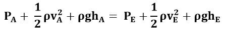 Ecuación de Bernoulli entre los puntos A y E