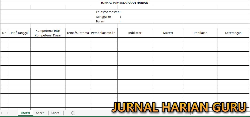 Format Jurnal Harian Kurikulum 2013 Model Baru Tematik