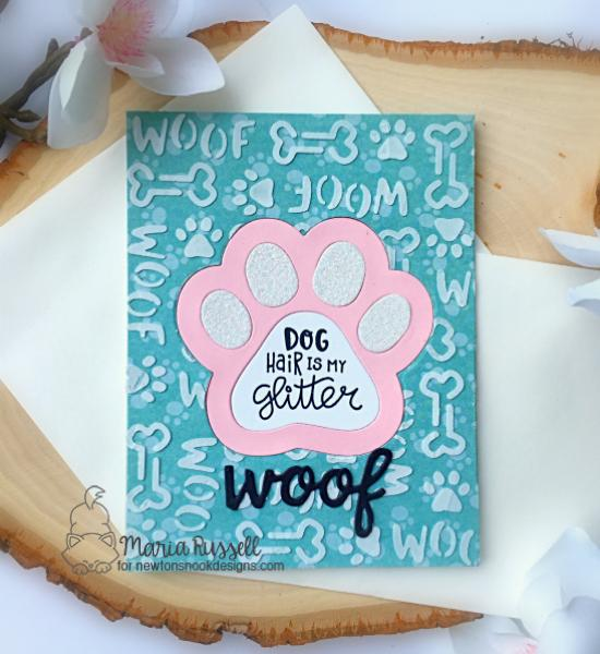 Pawprint Dog Card by Maria Russell | Pawprint Shaker Die Set, Say Woof Stamp Set and Woof Stencil by Newton's Nook Designs #newtonsnook #handmade