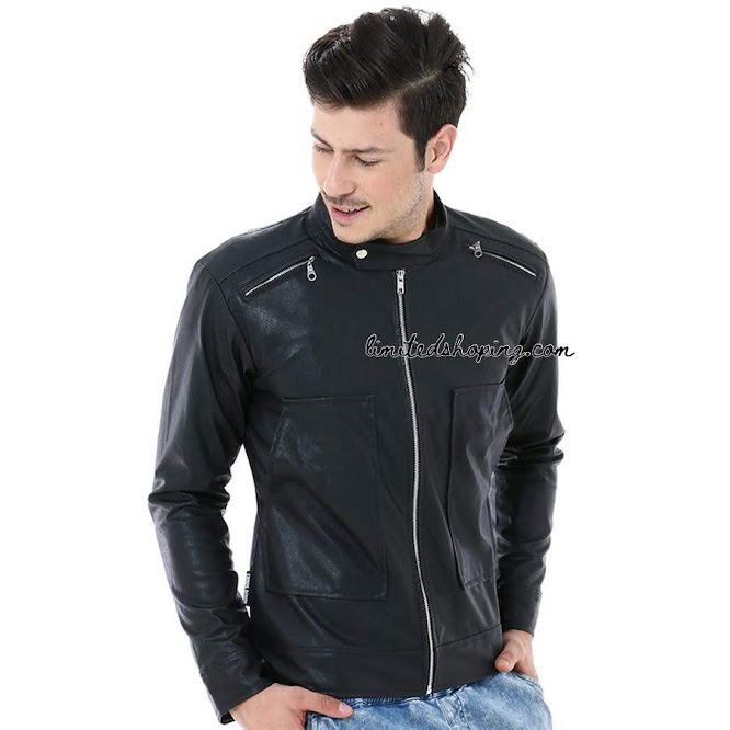 limited shoping sk26 hitam jaket korean style leather jacket